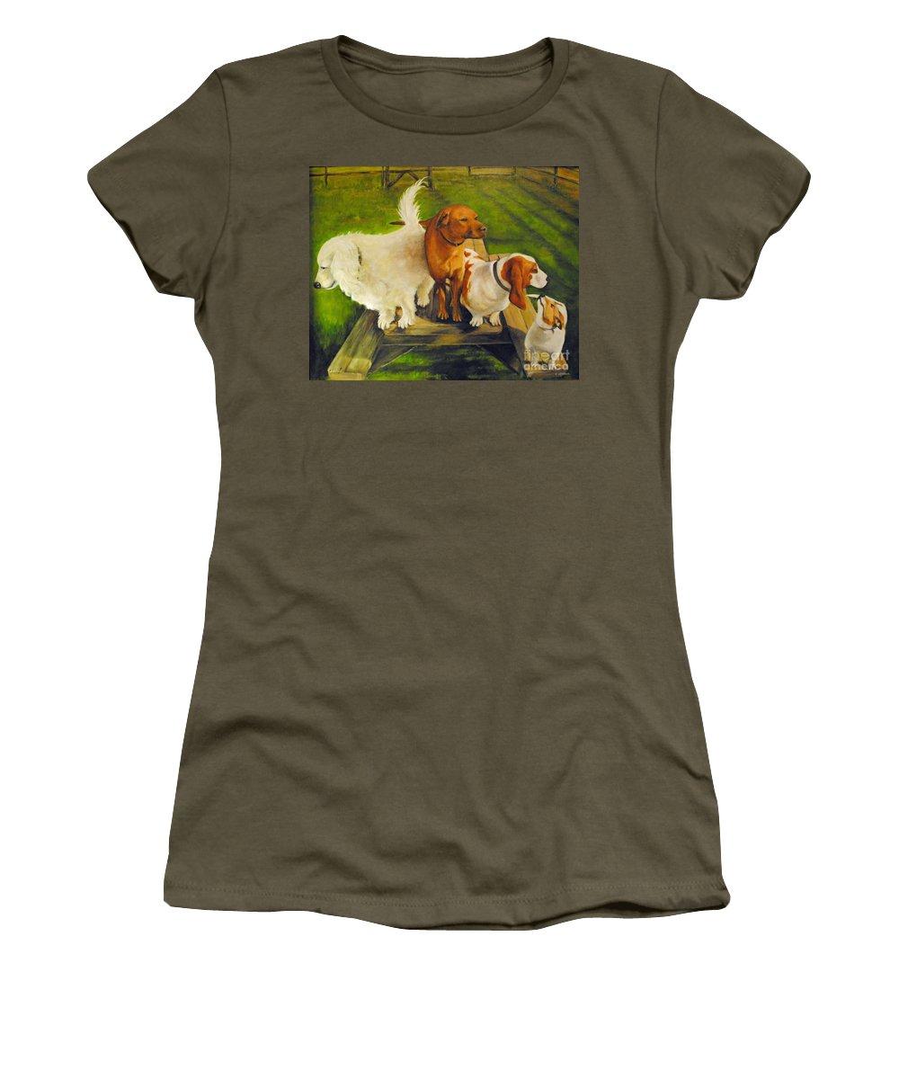 Dog Women's T-Shirt featuring the photograph Dog Friends by Carolyn Shireman