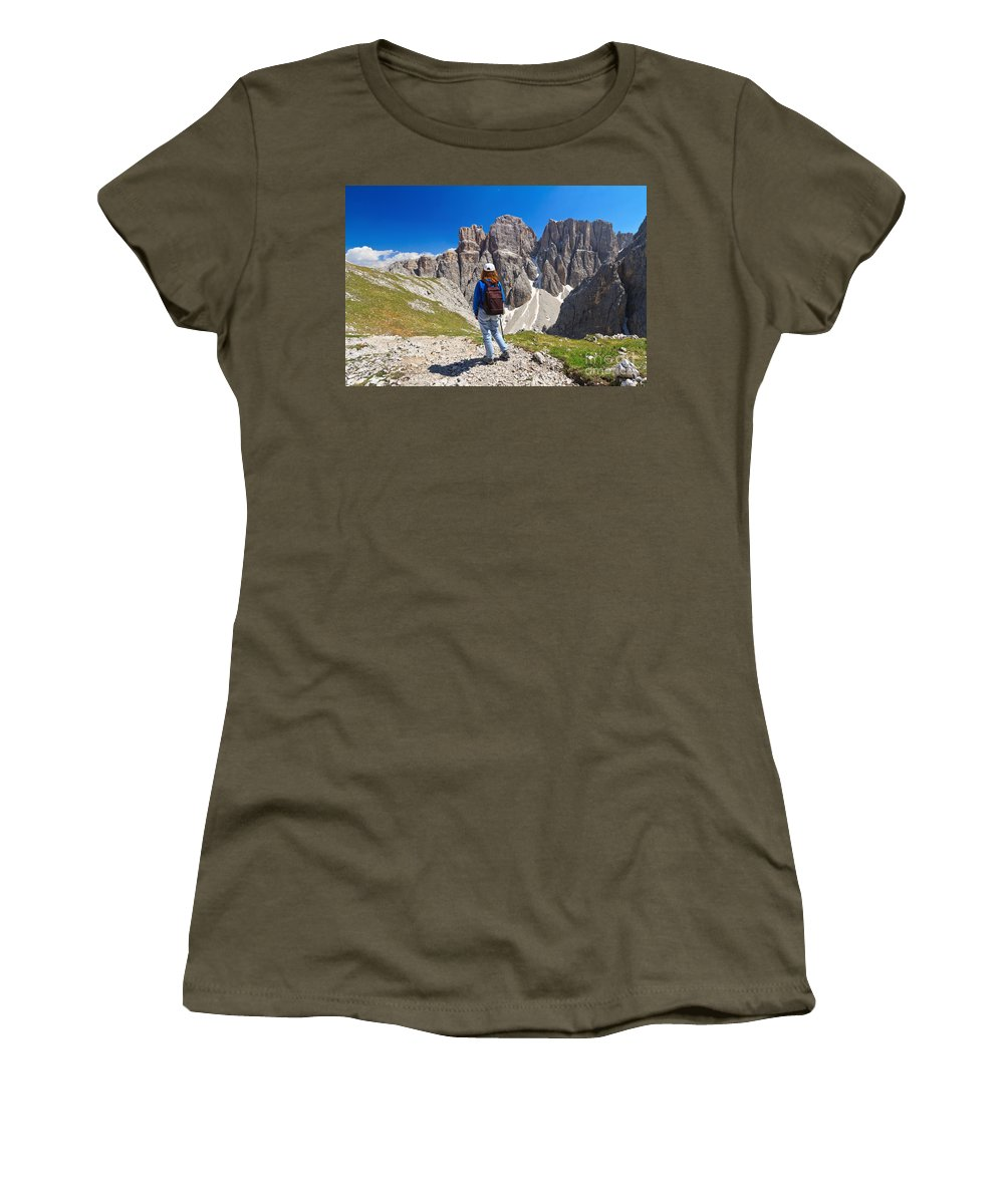 Hiker Women's T-Shirt featuring the photograph Dolomiti - Hiker In Sella Mount by Antonio Scarpi