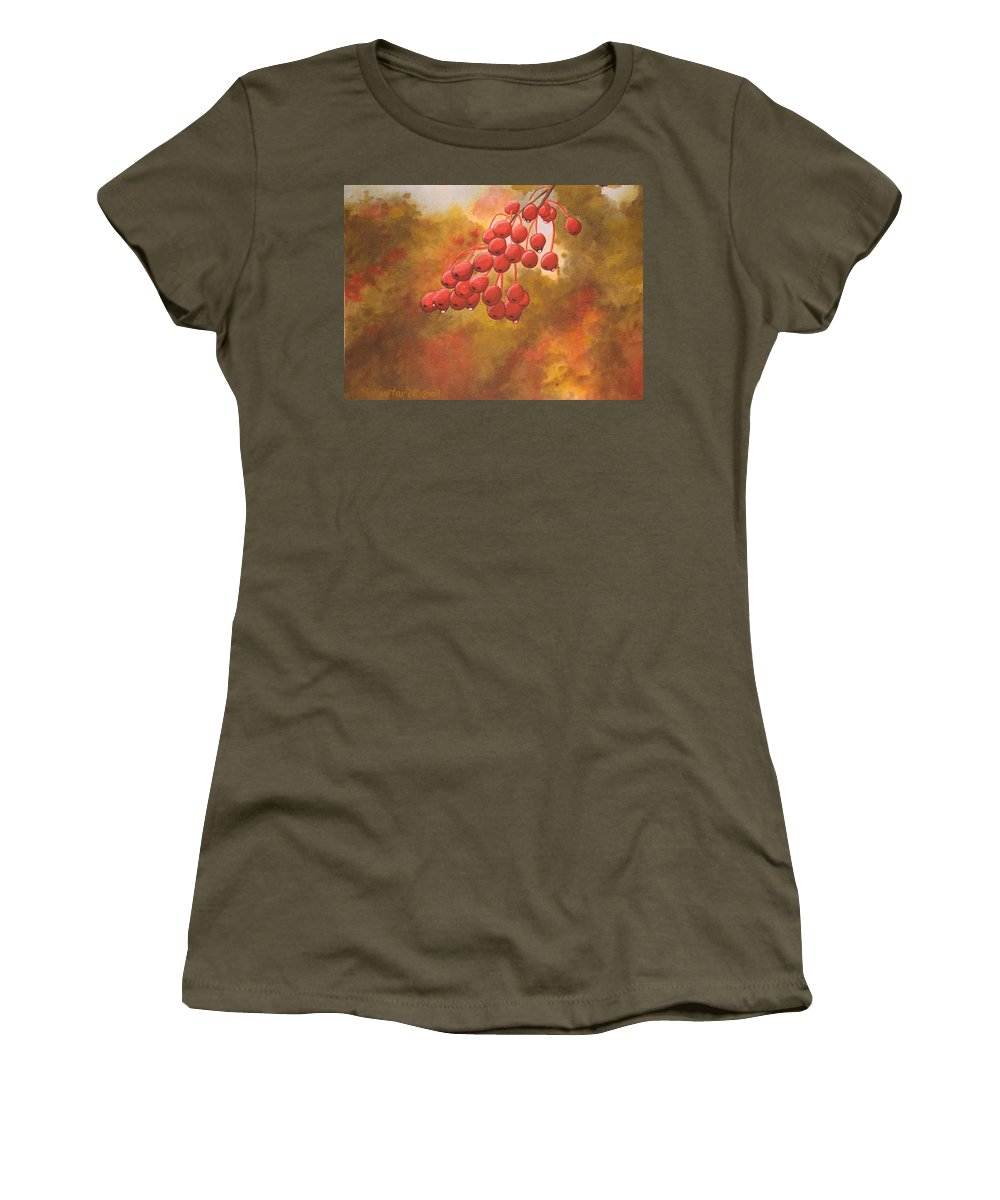 Rick Huotari Women's T-Shirt (Athletic Fit) featuring the painting Door County Cherries by Rick Huotari