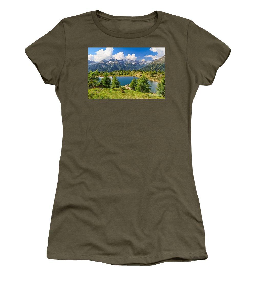 Alpine Women's T-Shirt featuring the photograph Doss Dei Gembri Lake In Pejo Valley by Antonio Scarpi