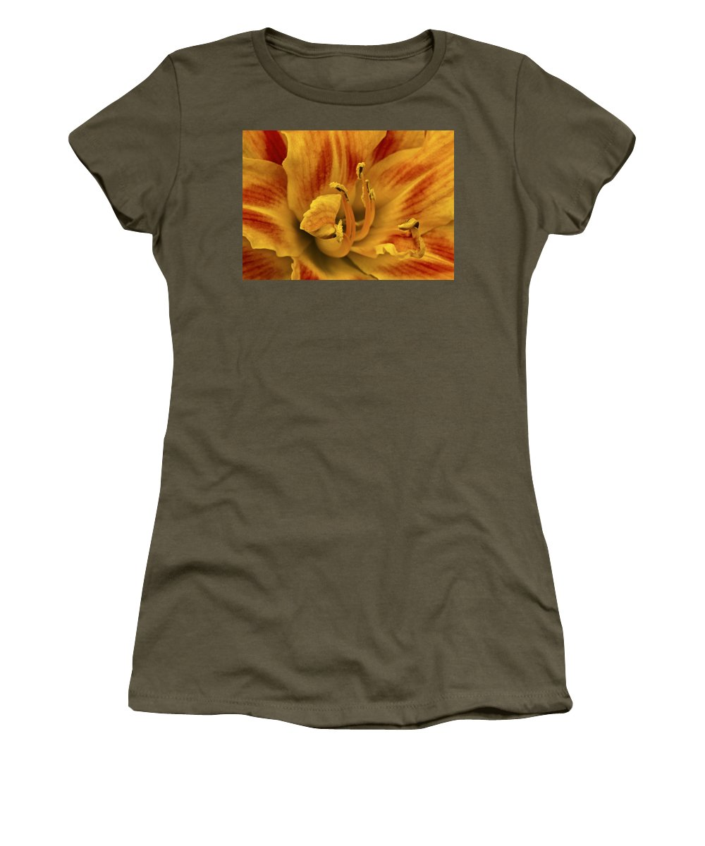 Daylily Women's T-Shirt (Athletic Fit) featuring the photograph Double Daylily by Sharon M Connolly