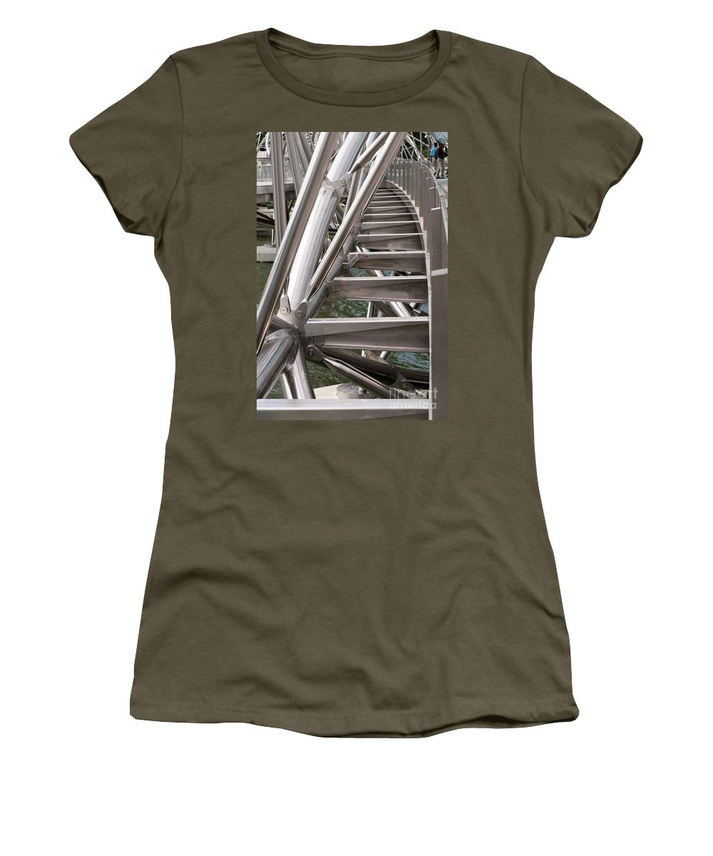 Singapore Women's T-Shirt featuring the photograph Double Helix Bridge 03 by Rick Piper Photography