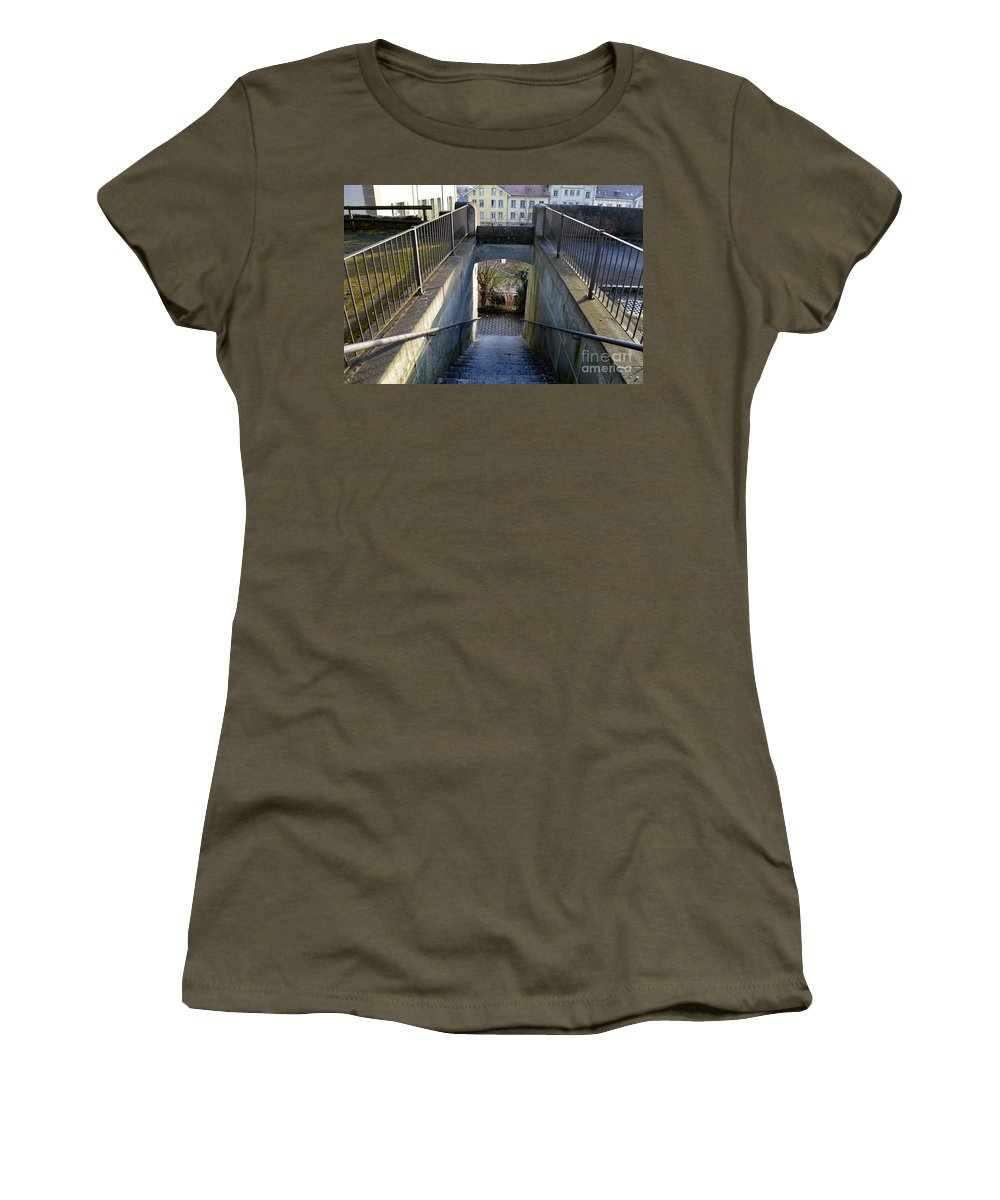 City Women's T-Shirt featuring the photograph Downstairs Door by Felicia Tica