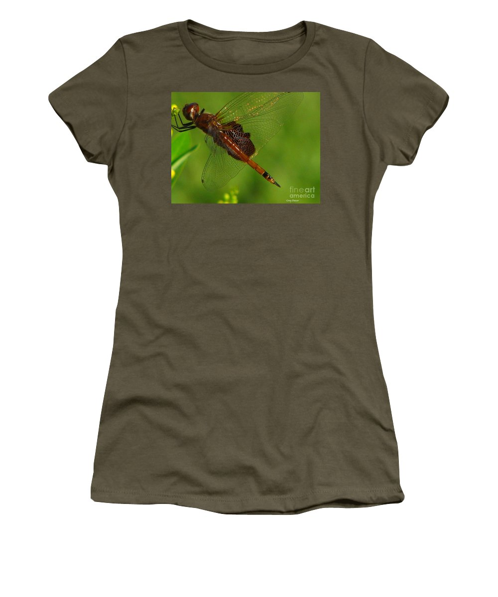 Art For The Wall...patzer Photographydragonfly Women's T-Shirt (Athletic Fit) featuring the photograph Dragonfly Art 2 by Greg Patzer