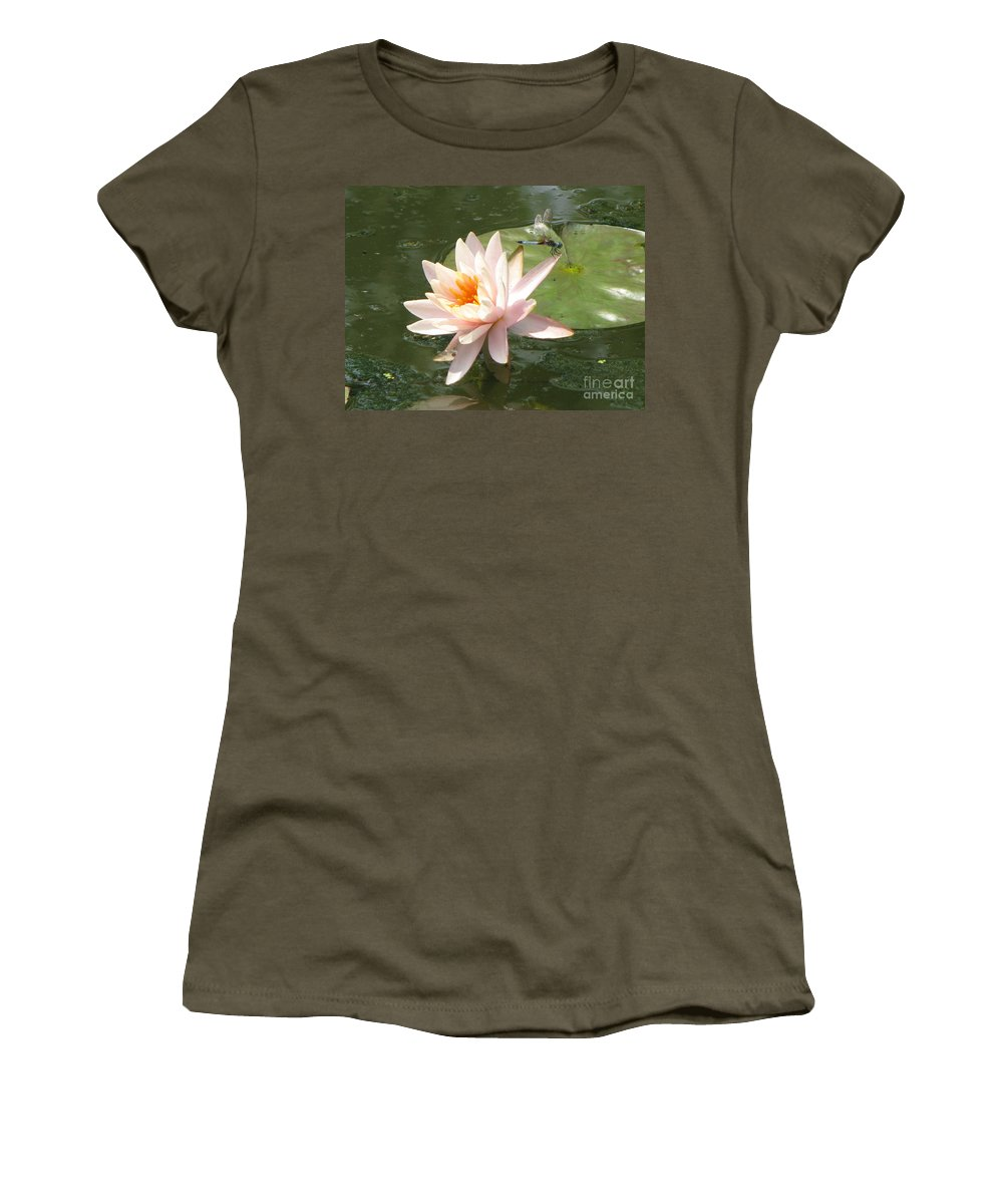 Dragon Fly Women's T-Shirt (Athletic Fit) featuring the photograph Dragonfly Landing by Amanda Barcon