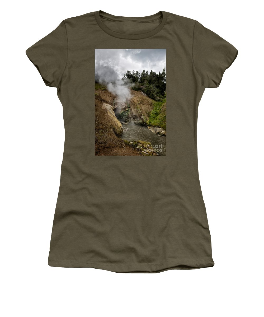 Yellowstone Women's T-Shirt featuring the photograph Dragon's Mouth Spring - Yellowstone by Belinda Greb