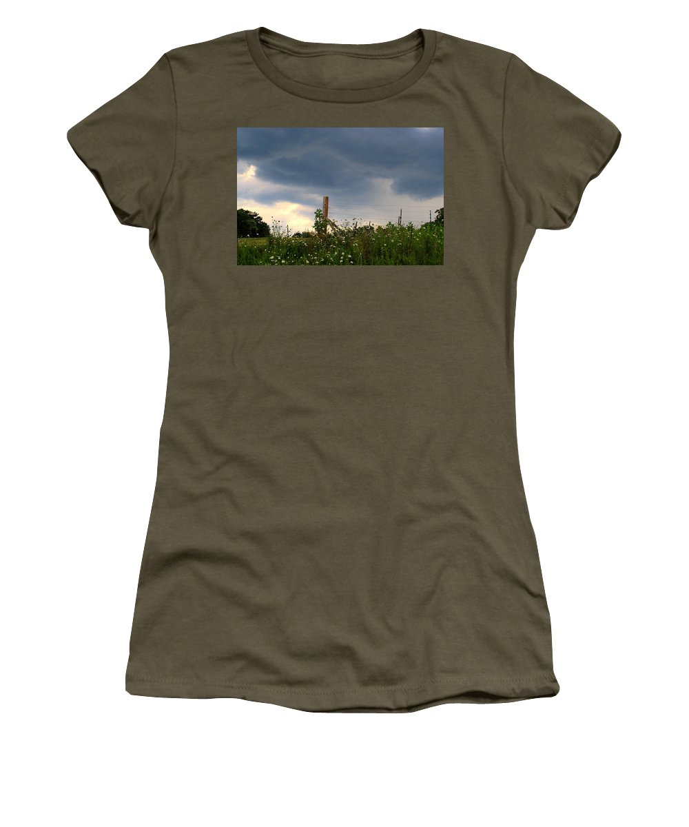 Thunderstorm Women's T-Shirt featuring the photograph Dramatic Skies by Kathryn Meyer