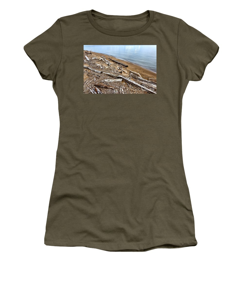 Driftwood Women's T-Shirt featuring the photograph Drifted Woods by Olivier Le Queinec