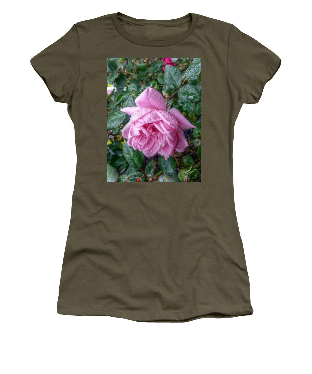 Pink Roses Women's T-Shirt (Athletic Fit) featuring the digital art Dripping Pink by Linda Unger
