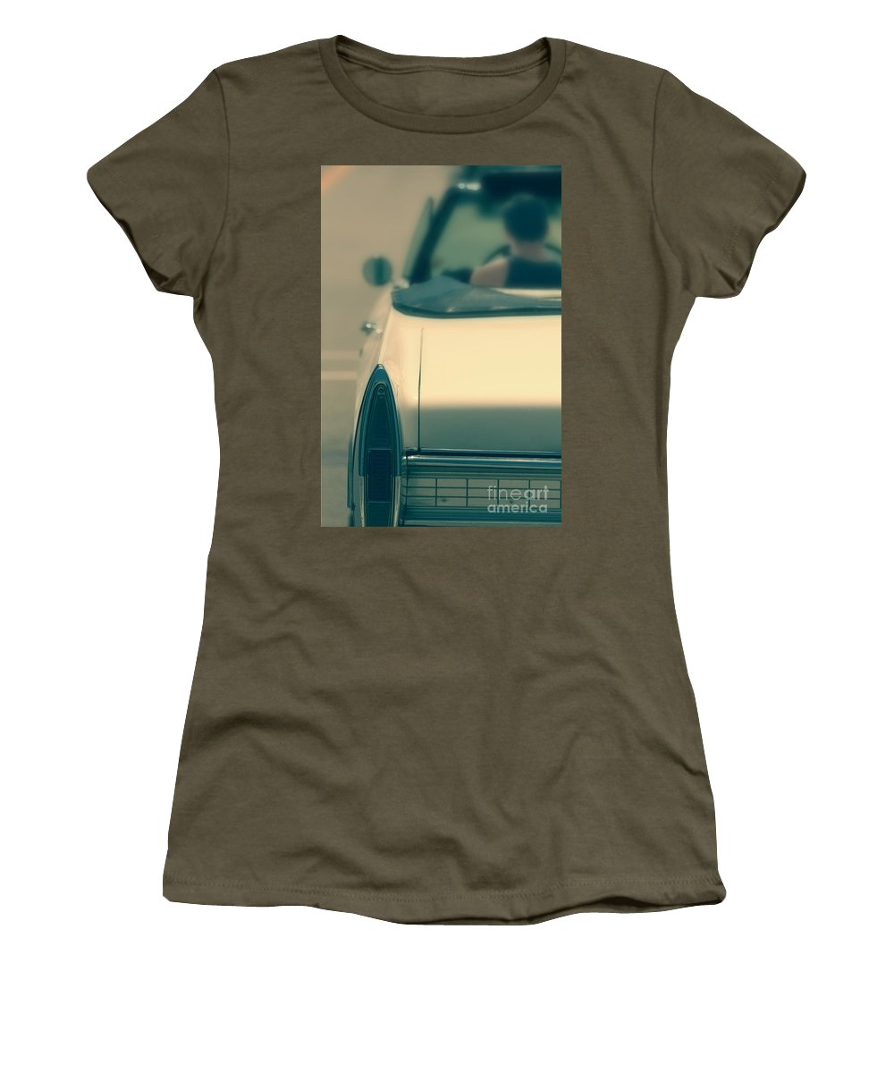Car; Auto; Automobile; Vehicle; Convertible; Transportation; Cool; Hip; Vintage; Antique; 1950s; 1960s; Tail Light; Light; Bumper; Trunk; Mirror; Caucasian; Male; Man; Tshirt; Tank Top; Road; Street; Drive; Driving Women's T-Shirt featuring the photograph Driving In A Convertible by Margie Hurwich