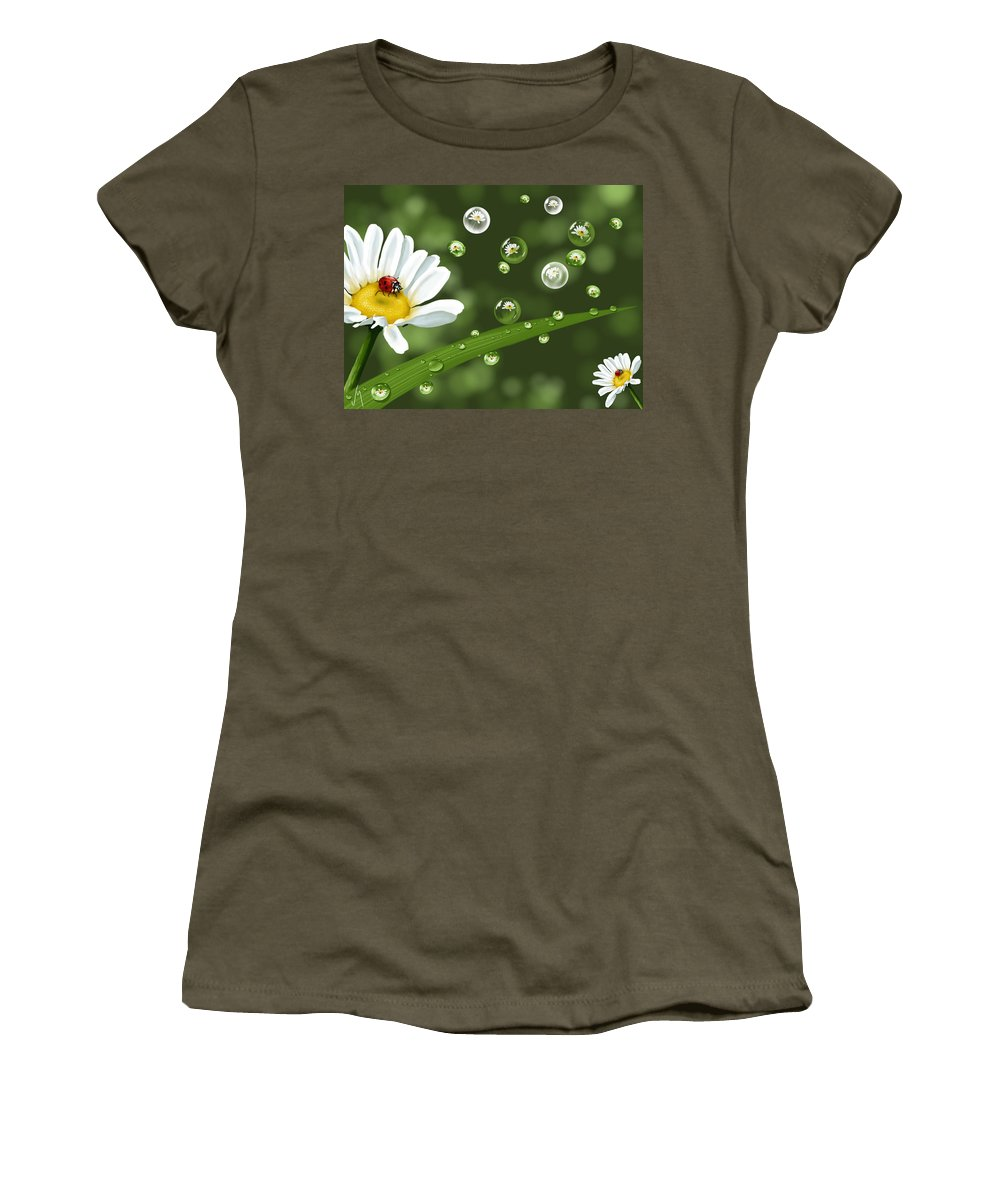 Spring Women's T-Shirt featuring the painting Drops Of Spring by Veronica Minozzi