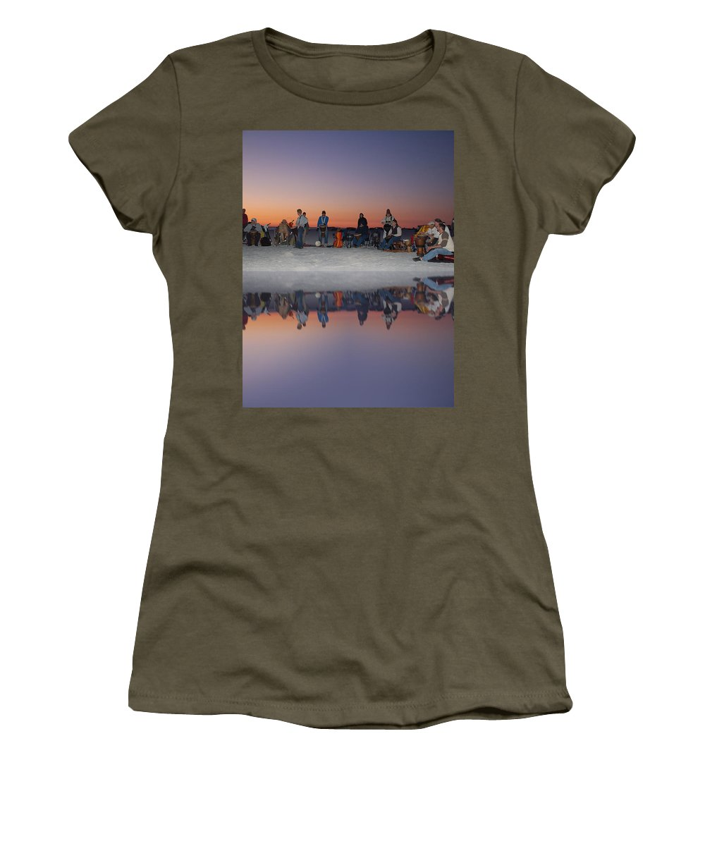 Beach Women's T-Shirt featuring the photograph Drummers Circle by Aimee L Maher ALM GALLERY
