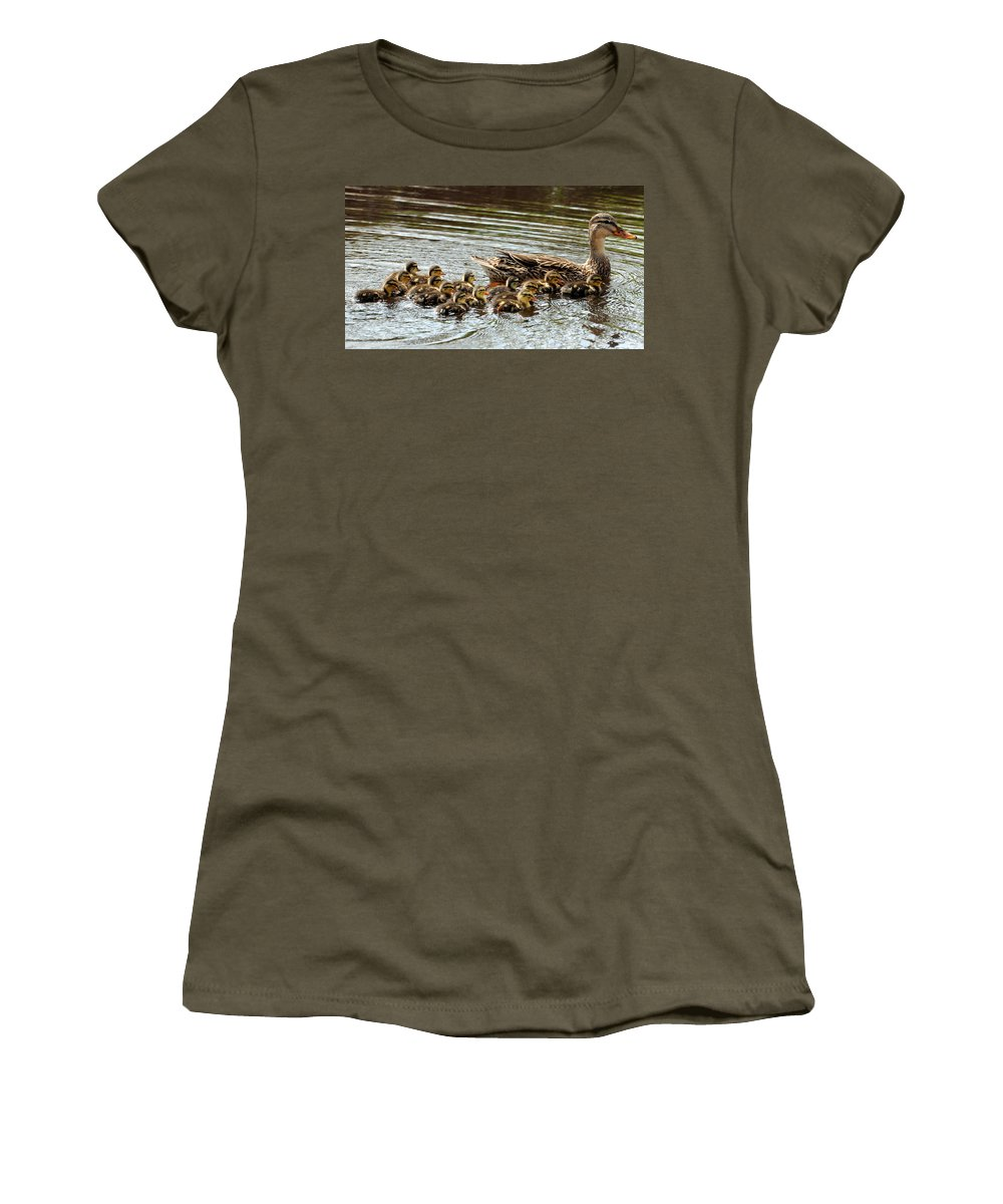 Duck Women's T-Shirt (Athletic Fit) featuring the photograph Duck Family by David Hart