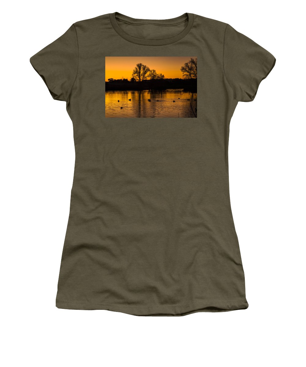 Ducks At Sunrise Photography Prints Women's T-Shirt featuring the photograph Ducks At Sunrise On Golden Lake Nature Fine Photography Print by Jerry Cowart