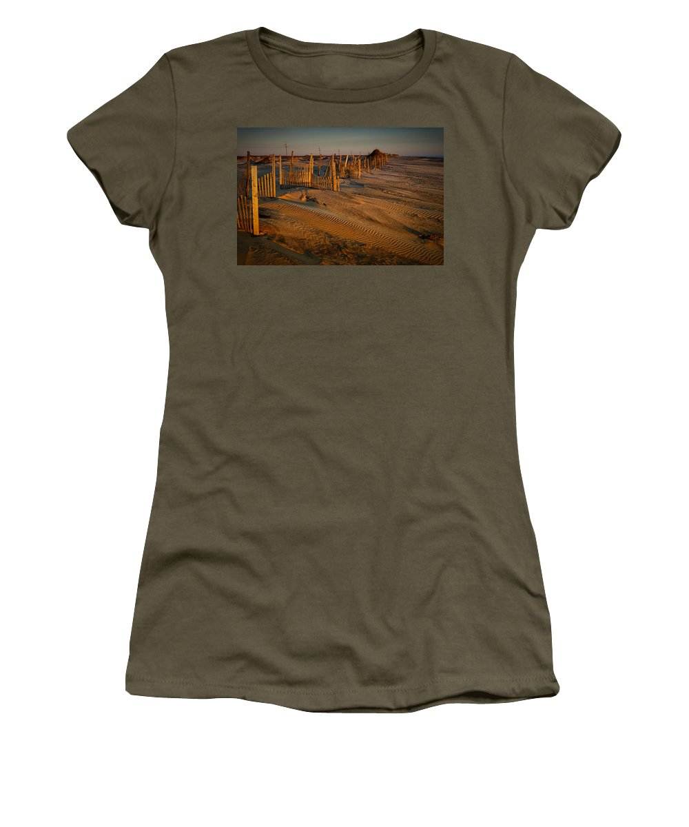 Outer Banks Women's T-Shirt featuring the photograph Dune Erosion Fence Outer Banks Nc Img3748 by Greg Kluempers