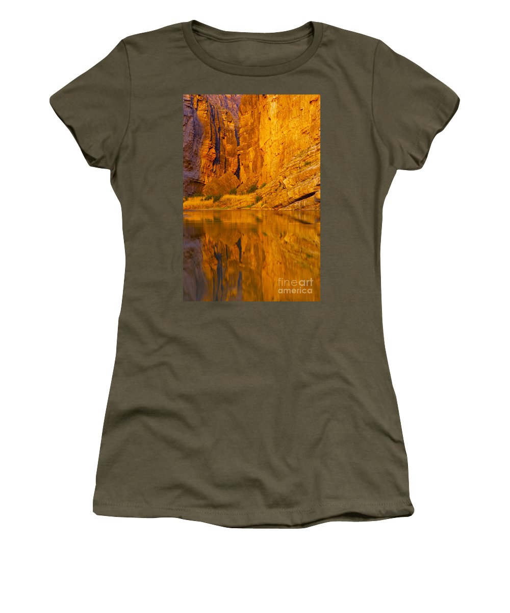 Santa Elena Canyon Big Bend National Park Texas Parks Canyons Rio Grande River Rivers Water Reflection Reflections Rock Rocks Stone Grass Grasses Landscape Landscapes Waterscape Waterscapes Women's T-Shirt featuring the photograph Early Morning Canyon Reflection by Bob Phillips