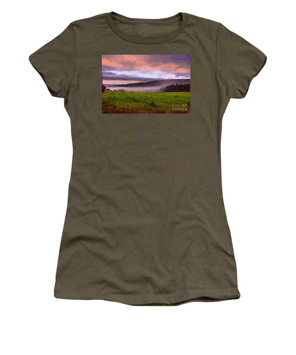Mist Women's T-Shirt featuring the photograph Early Morning Mist by Tom Gari Gallery-Three-Photography