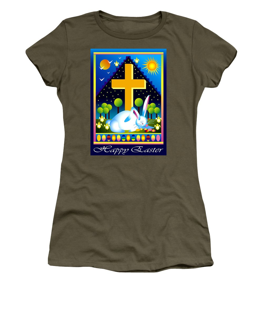 Bunny Women's T-Shirt featuring the digital art Easter Card by Nancy Griswold