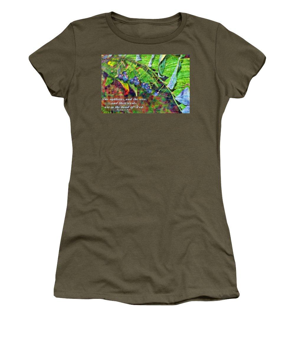 Jesus Women's T-Shirt featuring the digital art Ecclesiastes 9 1 by Michelle Greene Wheeler