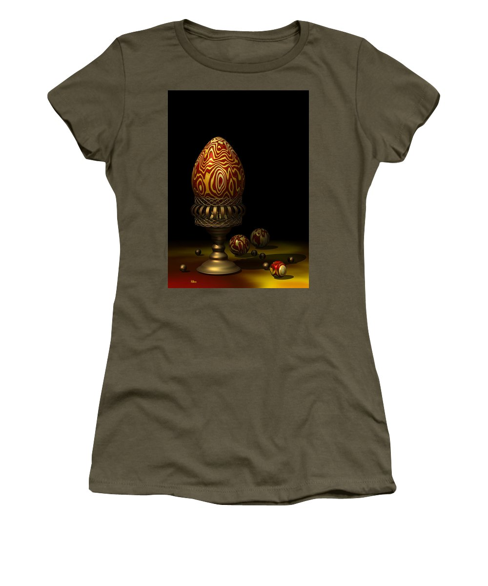 Xenodream. Egg Women's T-Shirt featuring the digital art Egg And Marbles by Hakon Soreide