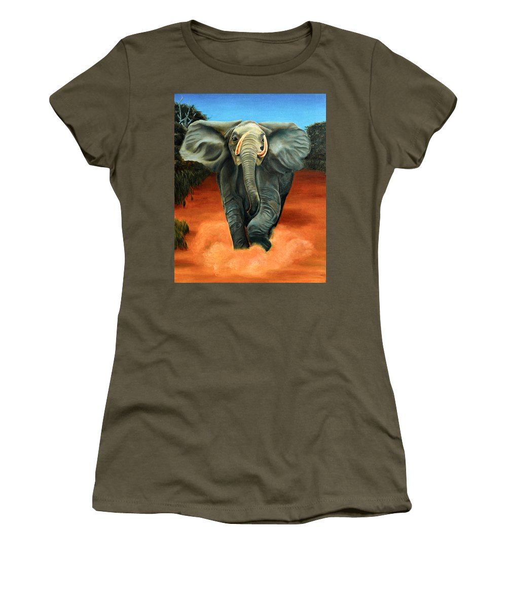 Judith Chantler. Women's T-Shirt featuring the painting Elephant by Judith Chantler