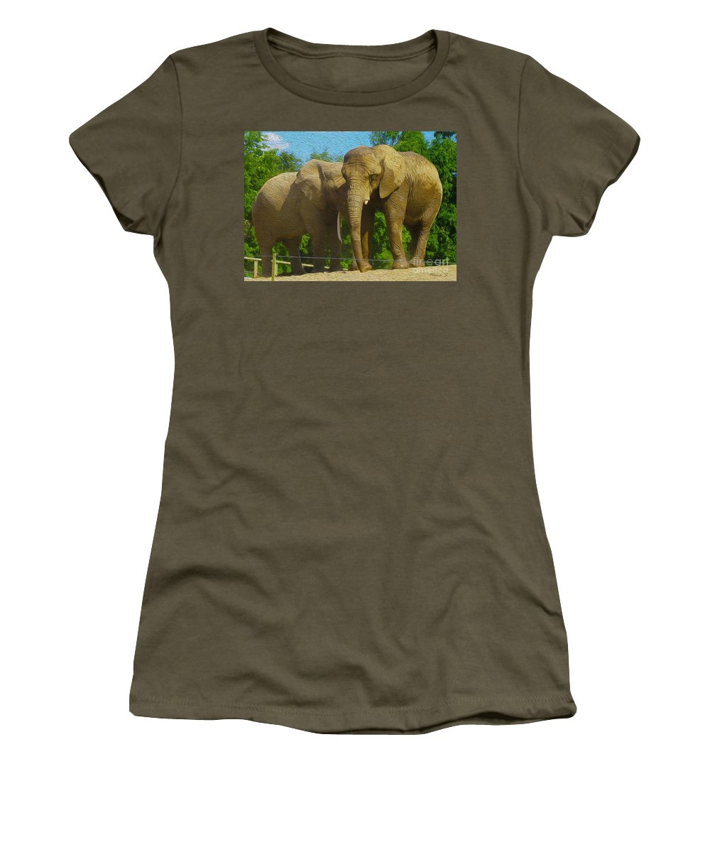 Elephant Women's T-Shirt featuring the photograph Elephant Snuggle by Nina Silver