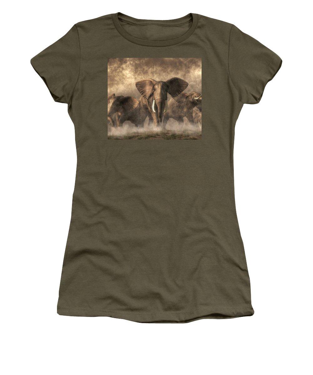Elephant Women's T-Shirt featuring the digital art Elephant Stampede by Daniel Eskridge