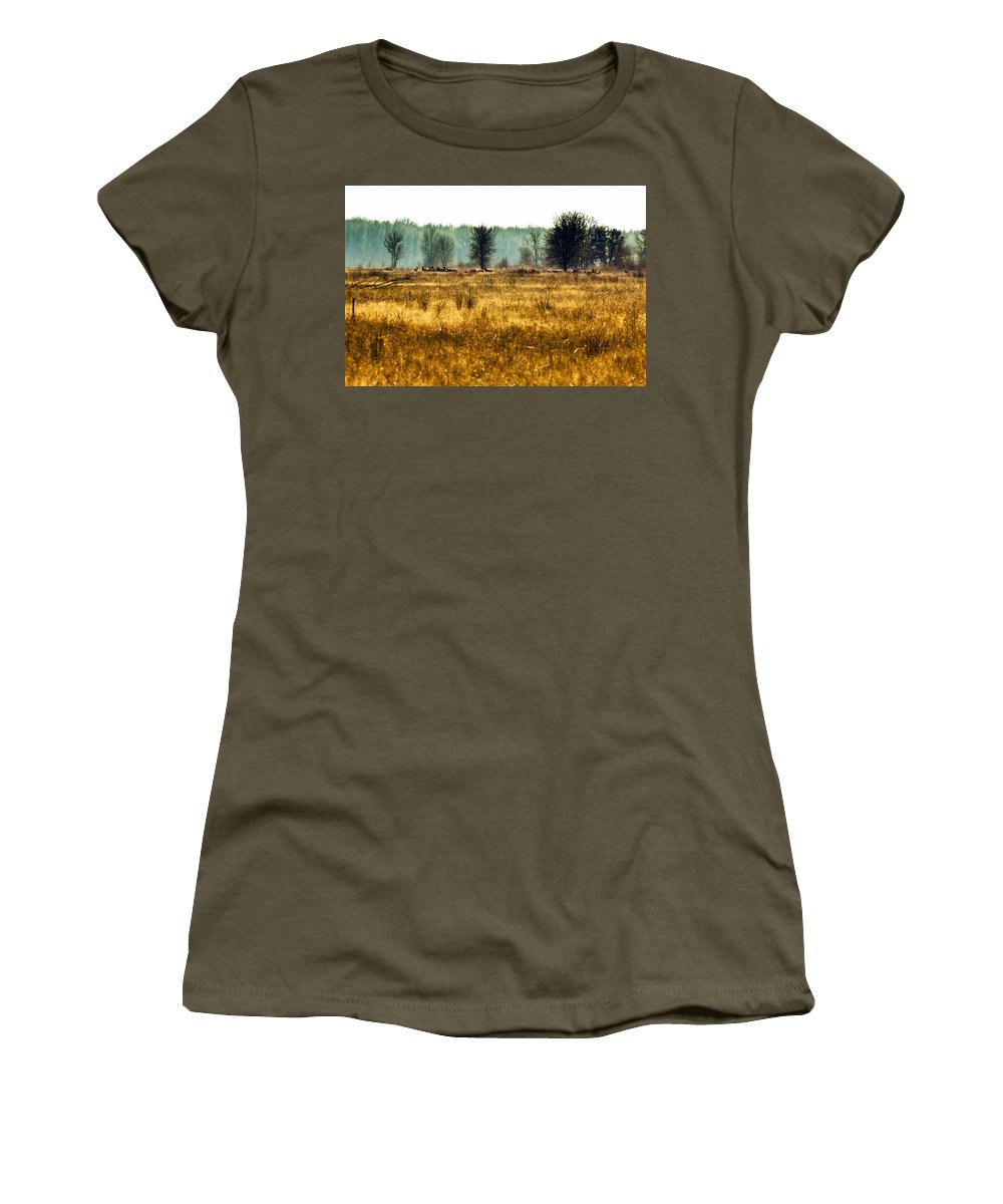 Elk Women's T-Shirt (Athletic Fit) featuring the photograph Elk In The Distance No. 1 by Belinda Greb
