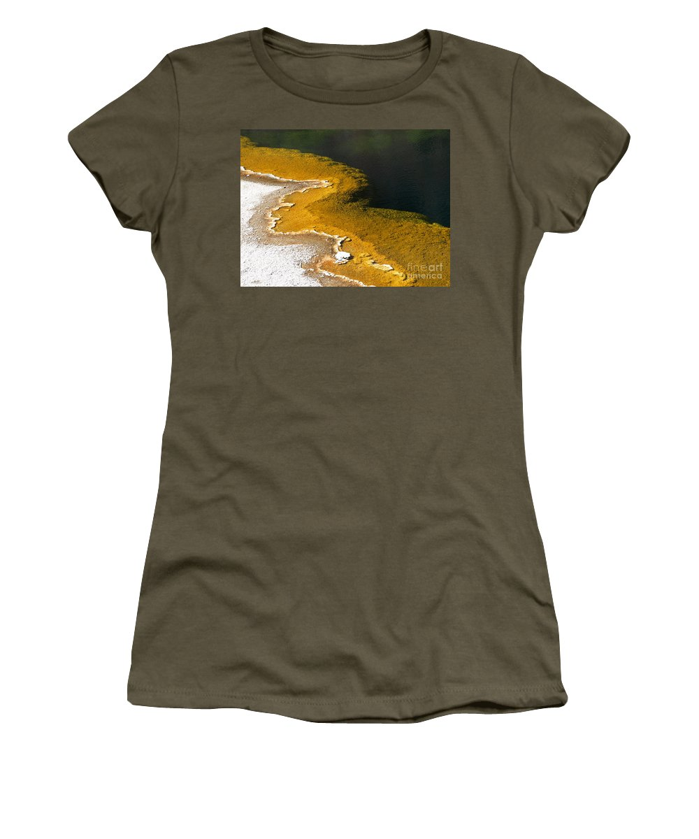 Emerald Women's T-Shirt (Athletic Fit) featuring the photograph Emerald Pool Yellowstone National Park by Jacklyn Duryea Fraizer