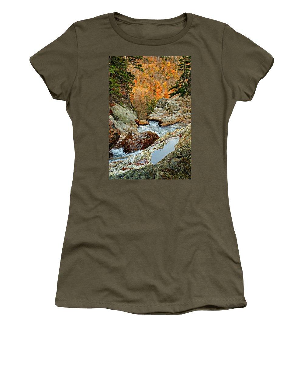 Autumn Women's T-Shirt featuring the photograph En Route To Glen Ellis Falls by Nikolyn McDonald
