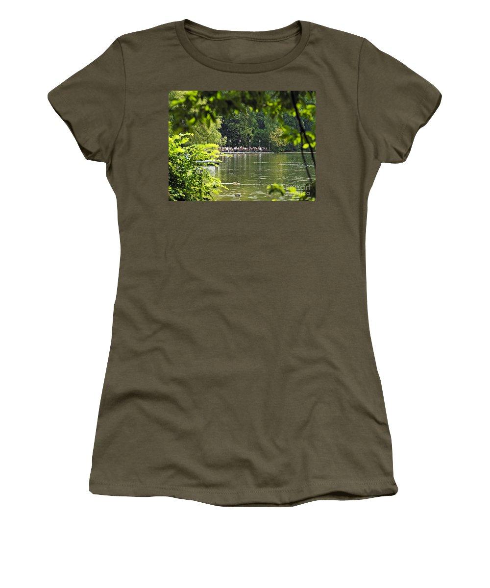 Munich Women's T-Shirt featuring the photograph English Garden Munich Germany by Howard Stapleton
