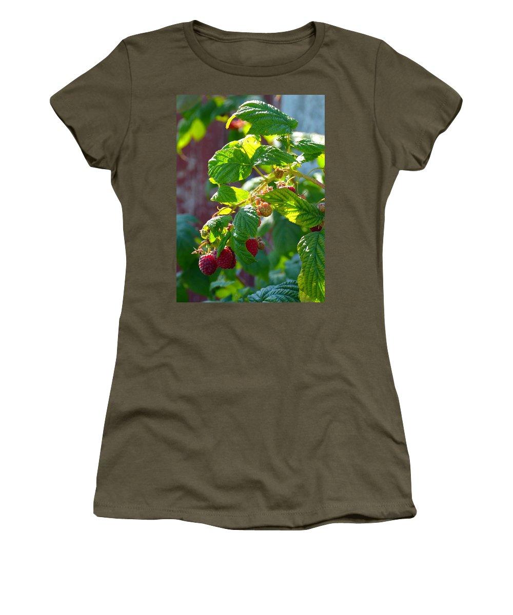 Raspberries Women's T-Shirt featuring the photograph English Raspberries by Carla Parris