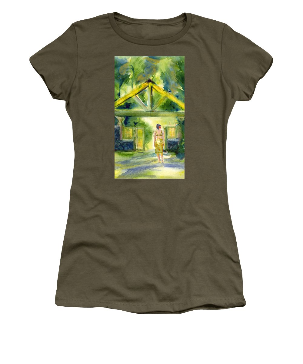 Dappled Pathway Painting Women's T-Shirt featuring the painting Enter The Garden by Deborah Pence