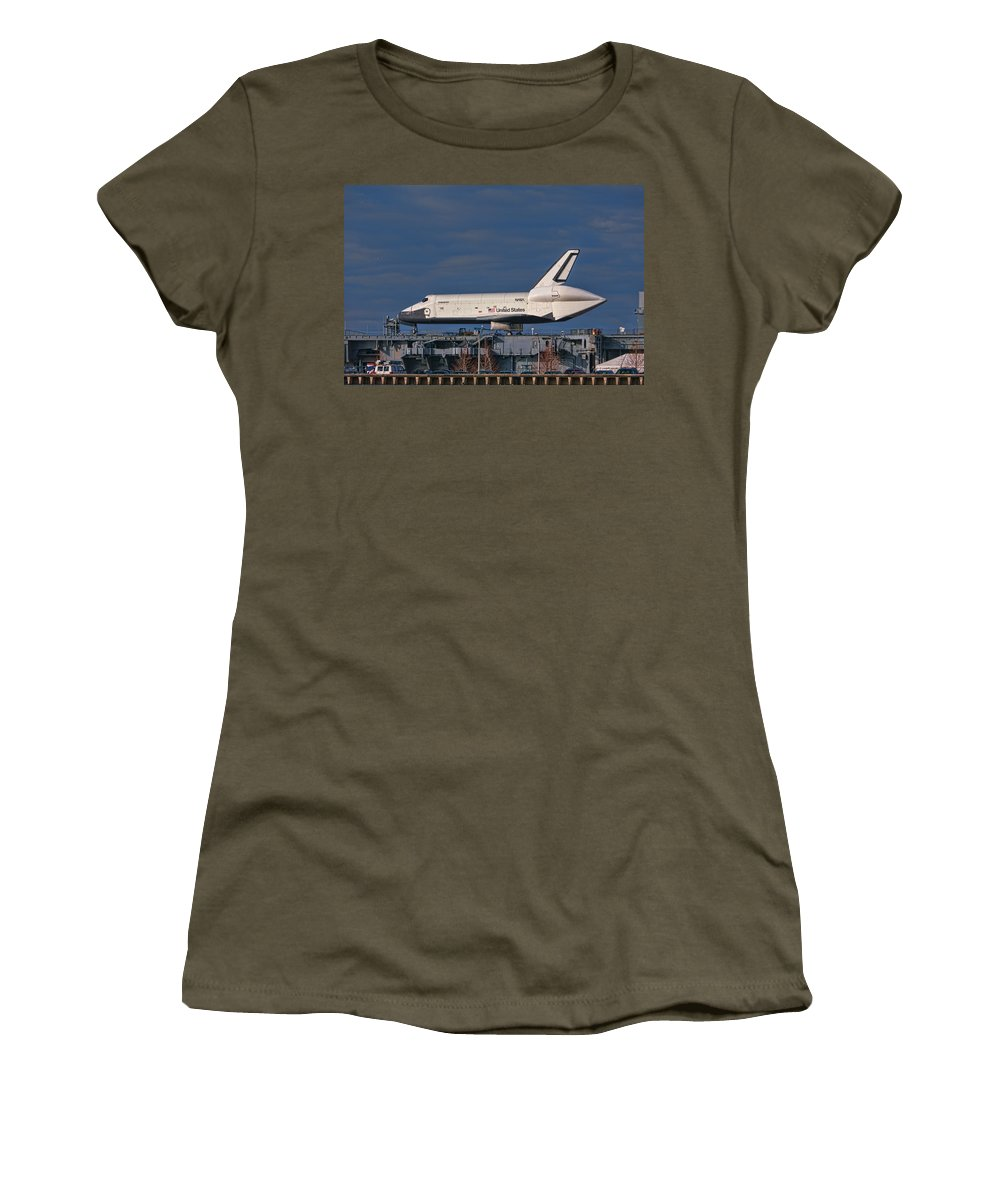 Enterprise Shuttle Women's T-Shirt (Athletic Fit) featuring the photograph Enterprise At The Intrepid by S Paul Sahm