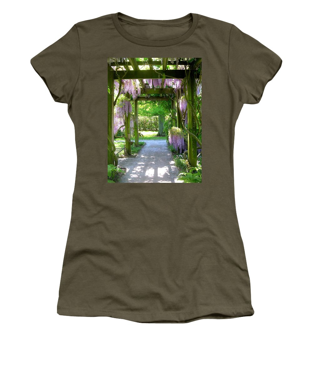 Purple Wisteria Women's T-Shirt featuring the photograph Entranceway To Fantasyland by Susan Maxwell Schmidt