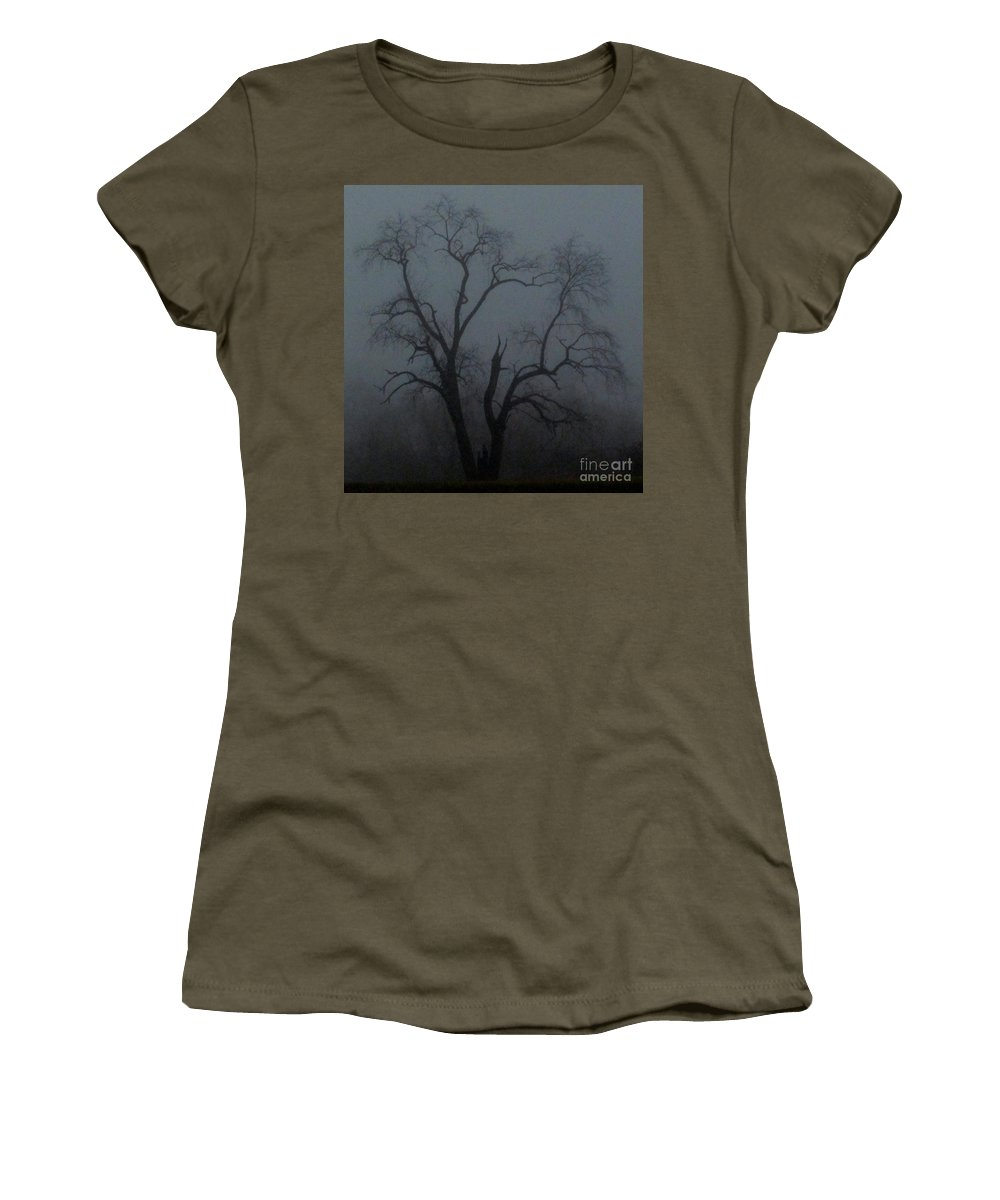 Erie Arbor Erie Trees Dark Trees Ominous Trees Creepy Trees Foggy Tree Silhouette Fog Tree Images Fog Tree Prints Winter Catalapa Tree In Fog Haunting Tree Images Haunting Prints Erie Prints Foggy Flora Misty Tree Natural Landscapes Treescapes Fogscapes Winter Trees Winter Flora Winter Arbor Fine Art Nature Photography Pixels.com Women's T-Shirt (Athletic Fit) featuring the photograph Erie Arbor Elder by Joshua Bales