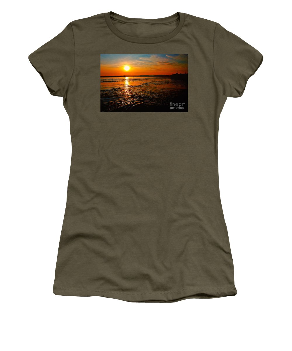 Sunset Women's T-Shirt featuring the photograph Estuary Sunset by Rob Hawkins