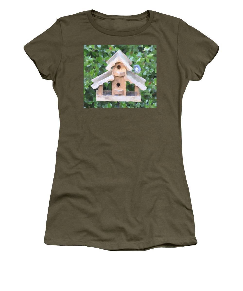 Oregon City Women's T-Shirt featuring the photograph Evans's Birdhouse - Oil Paint by Image Takers Photography LLC - Carol Haddon