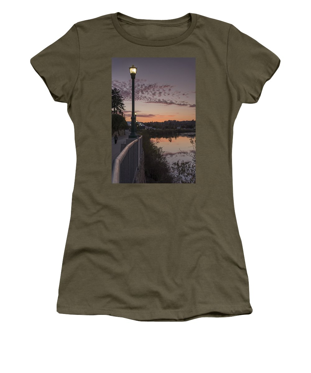 Sunset Women's T-Shirt featuring the photograph Evening By The River by Bruce Frye