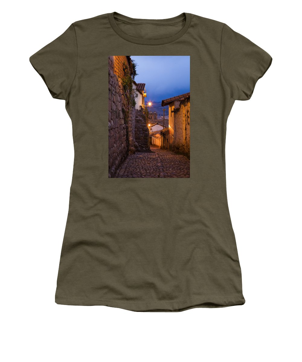 Street Women's T-Shirt featuring the photograph Evening In Cusco by Alexey Stiop
