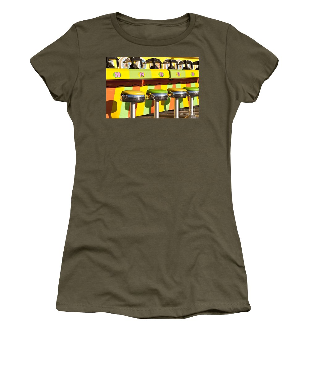 Americana Women's T-Shirt featuring the photograph Evergreen State Fair Midway Game With Coloful Stools And Squirt by Jim Corwin
