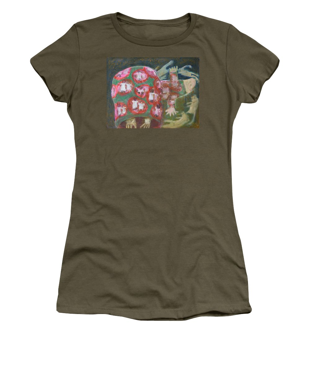 Abstract Modern Outsider Raw Woman Figure Red Dance Dancing Dress Backside Children Hand Holding Circle Folk Women's T-Shirt featuring the painting Everything Here Owes Its Life To A Gopher by Nancy Mauerman