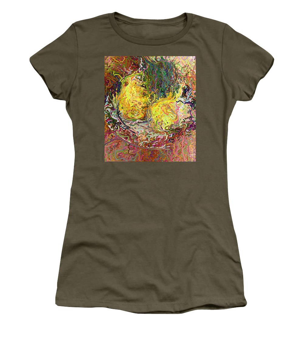 Epressionist Women's T-Shirt (Athletic Fit) featuring the digital art Expressionist 2 Messy Pears by Frank Crescenti