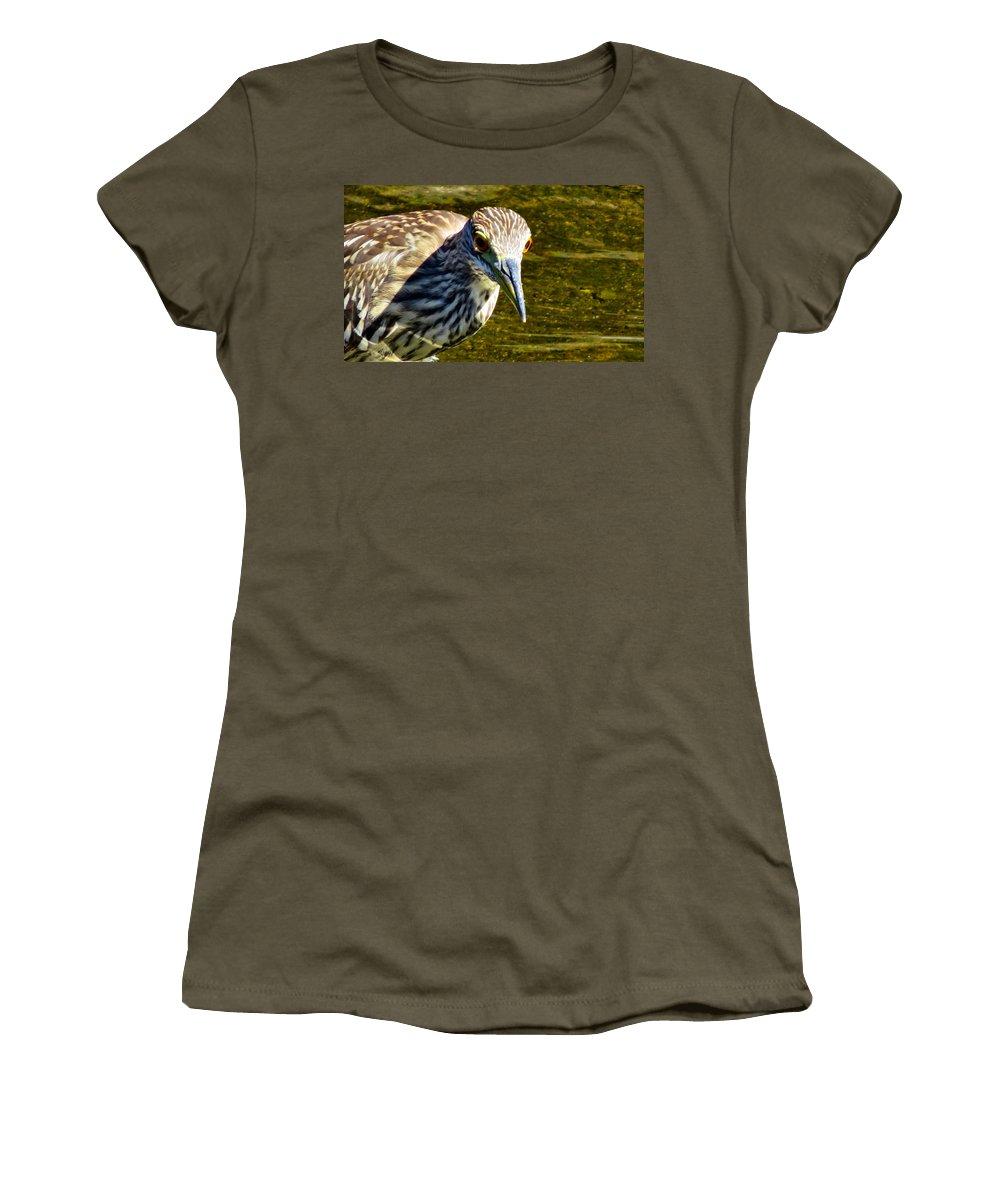 Heron Women's T-Shirt featuring the photograph Eye Glints by Art Dingo