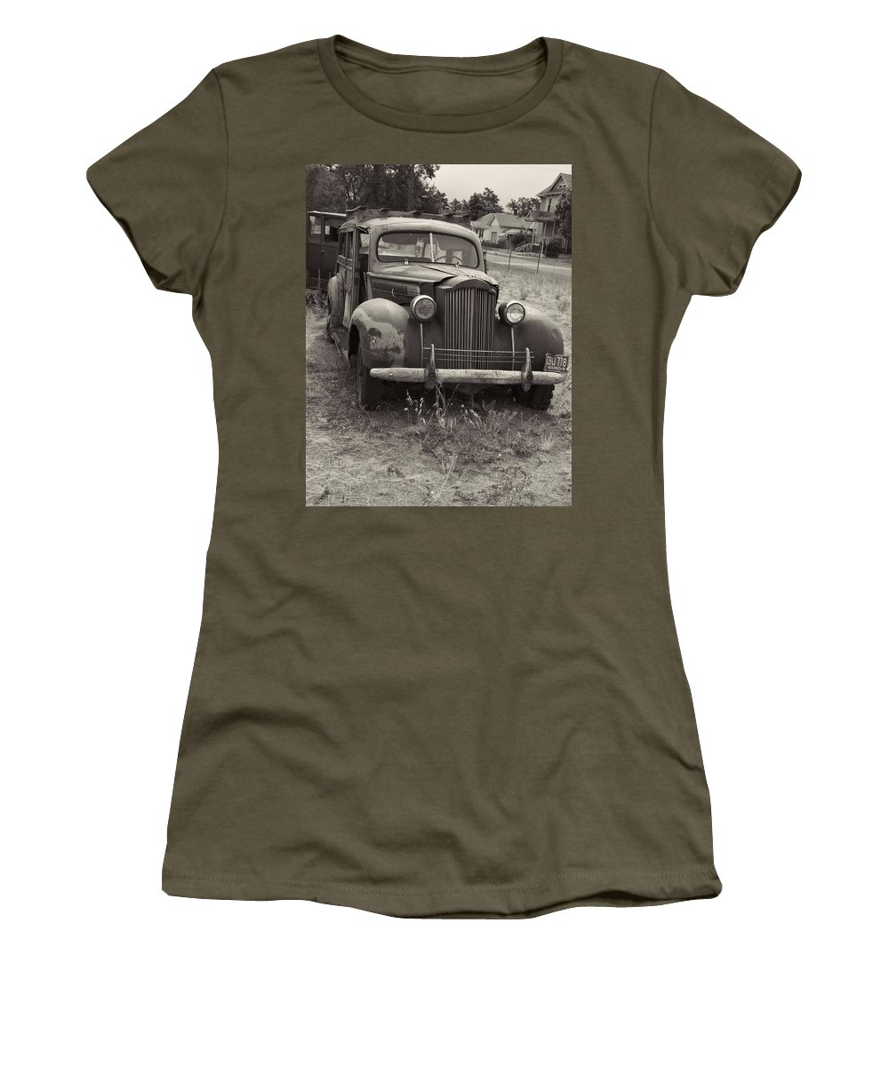 Women's T-Shirt featuring the photograph Fabulous Vintage Car Black And White by Cathy Anderson