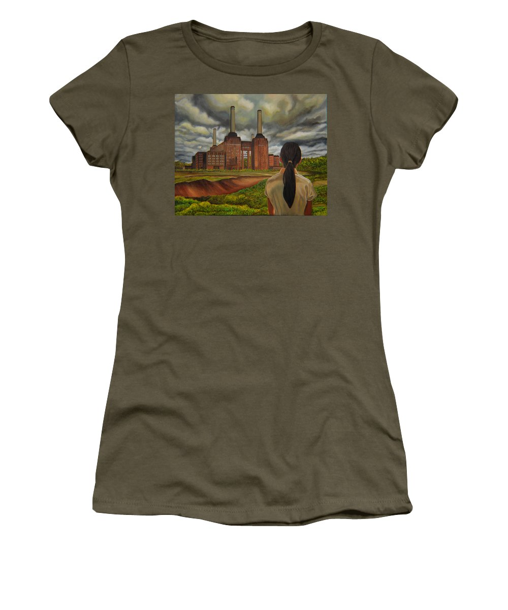 Storm Women's T-Shirt (Athletic Fit) featuring the painting Facing Storm by Thu Nguyen
