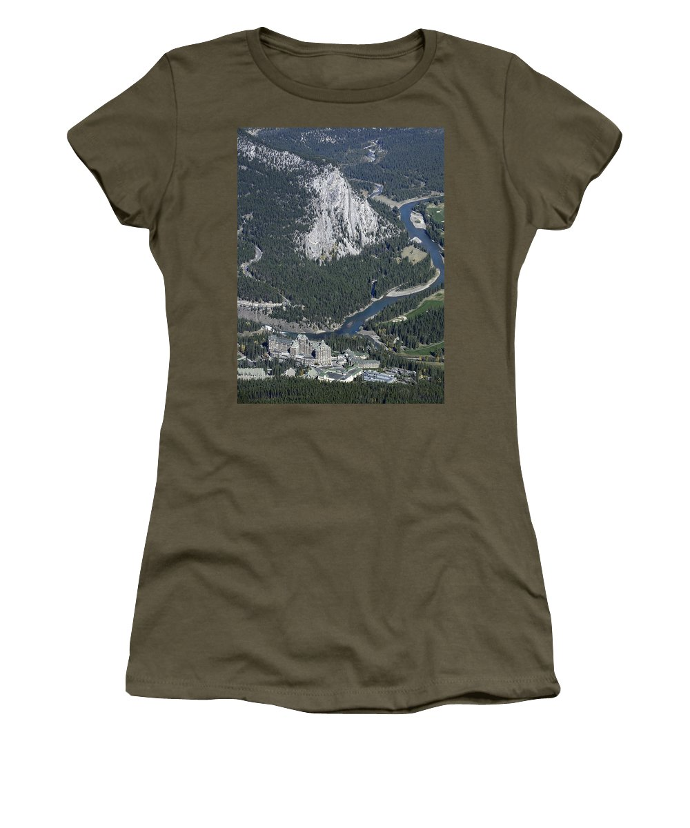 banff Springs Women's T-Shirt (Athletic Fit) featuring the photograph Fairmont Banff Springs Hotel And Golf Course by Daniel Hagerman