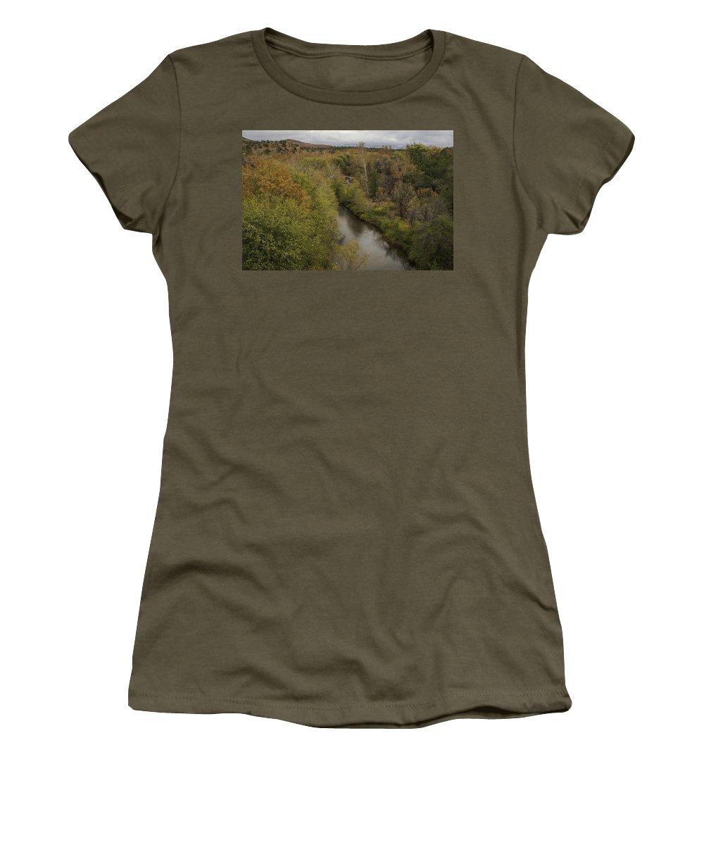 Creek Women's T-Shirt featuring the photograph Fall Along The Creek by Lorraine Harrington