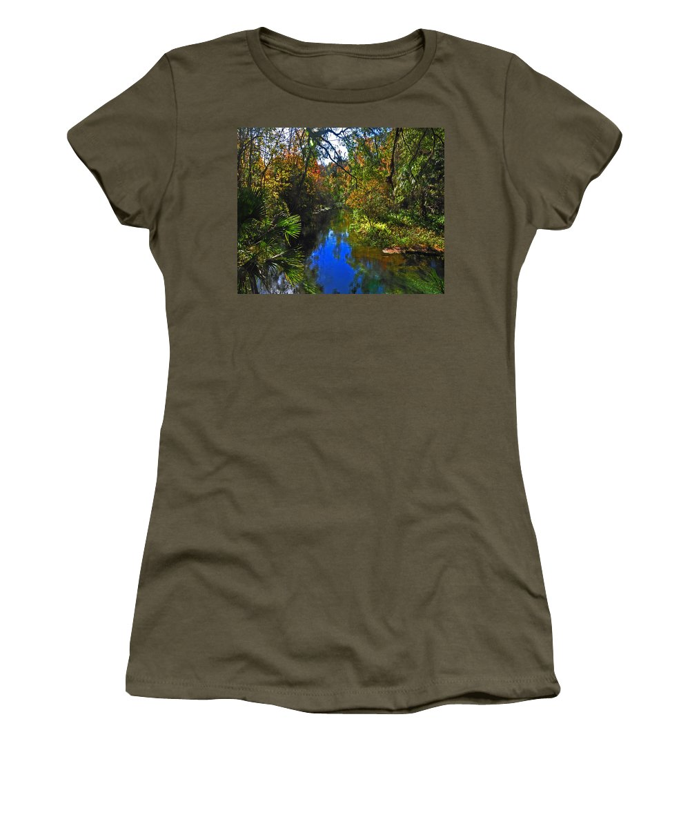 Water Women's T-Shirt (Athletic Fit) featuring the photograph Fall At Kelly Park by Deborah Good