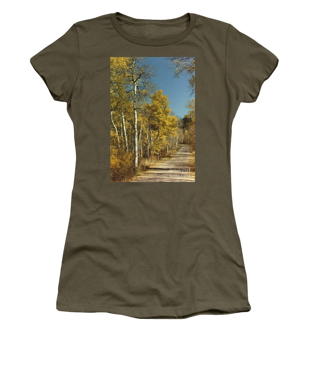 Aspens Women's T-Shirt (Athletic Fit) featuring the photograph Fall Lane by Brandi Maher